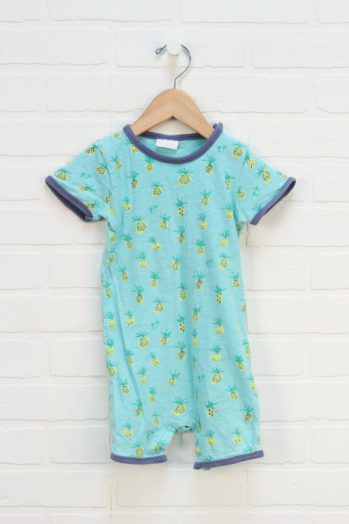 Turquoise Graphic Romper: Pineapples (Size 12-18M)