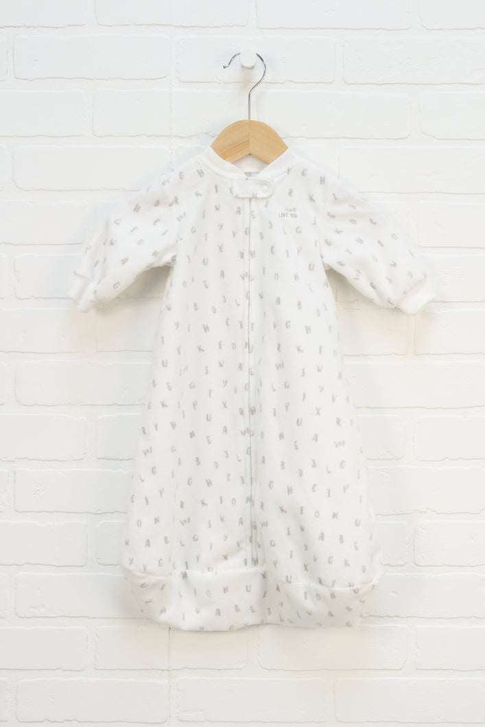White Fleece Sleep Sack (Size S/0-3M)