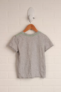 Heathered Grey Graphic Cap-Sleeve Top (Size XXS/3)