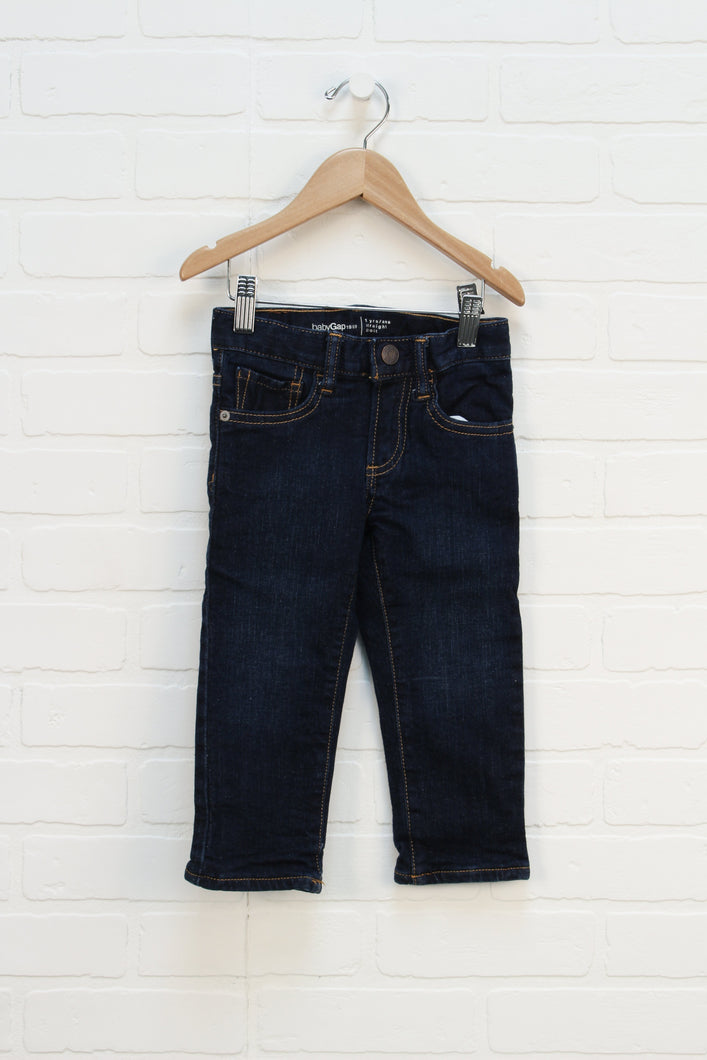 Dark Wash Cotton Lined Straight Leg Jeans (Size 2)