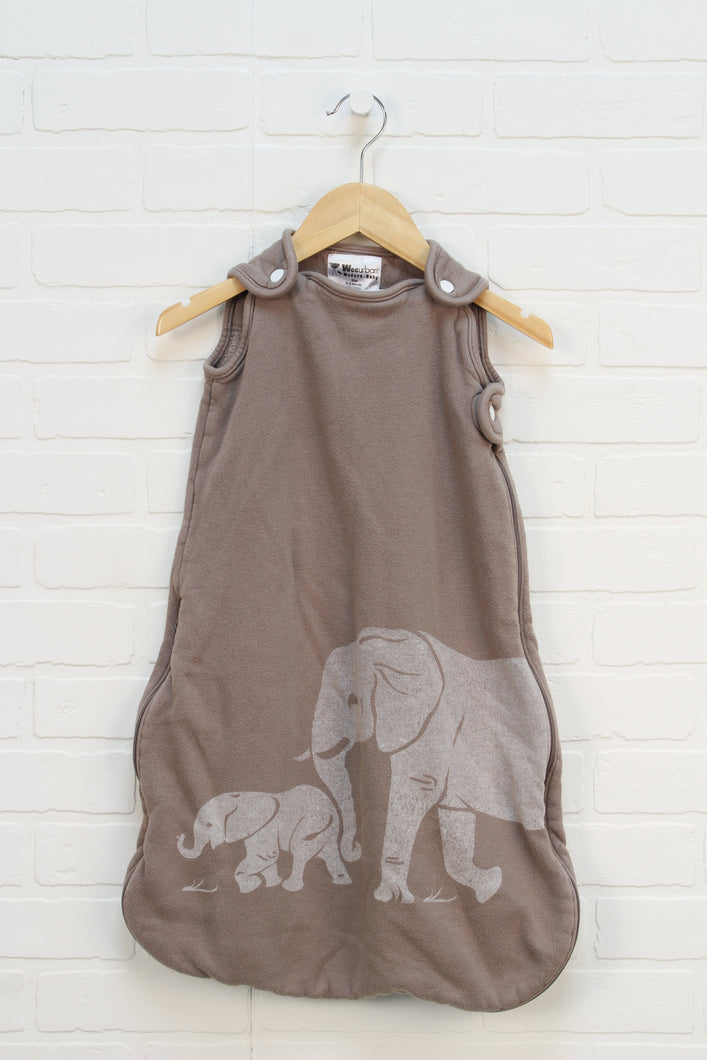 Brown Graphic Sleep Sack: Elephant (Size 0-6M)