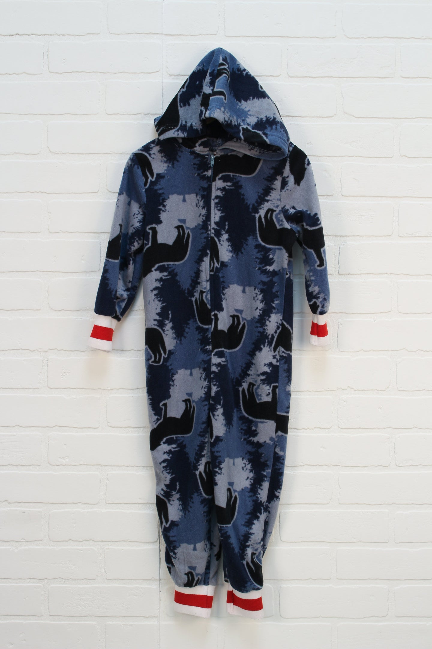 Navy Camo Fleece Sleeper: Wolves (Size 2-3)