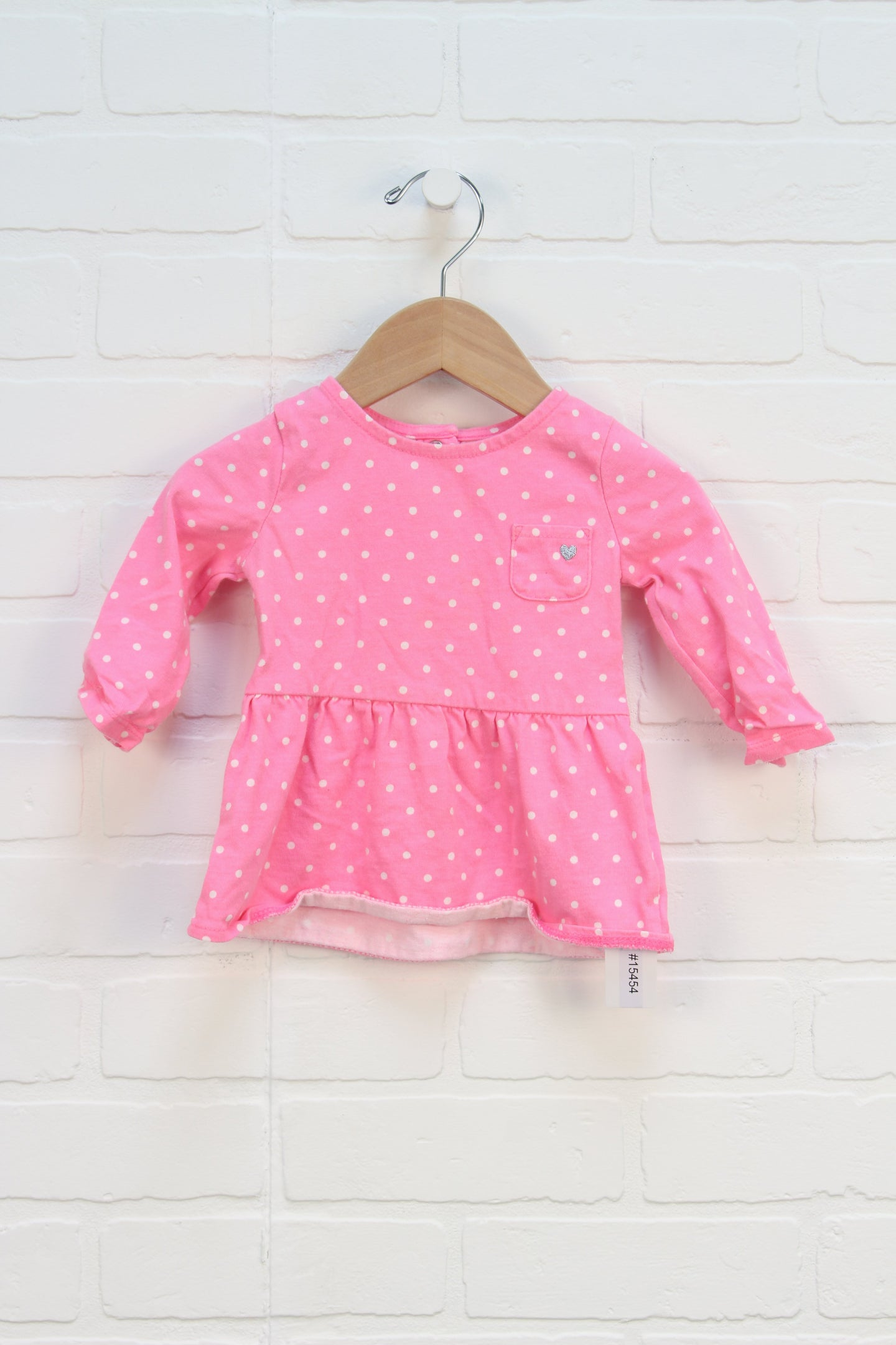 Pink + White Polka Dot Top (Carter's Size 9M)