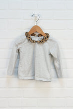 Heathered Grey + Animal Print Peter Pan Collar Top (Size 18-24M)