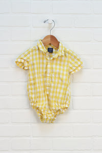 Yellow Gingham Onesie (Size 3-6M)