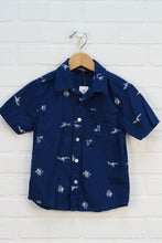 Blue + White Graphic Button-Up (Size 4)