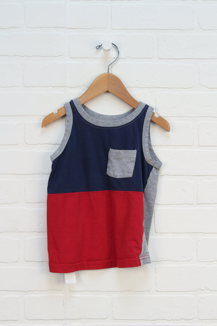 Navy + Red Colour Block Tank (Size 4-5)