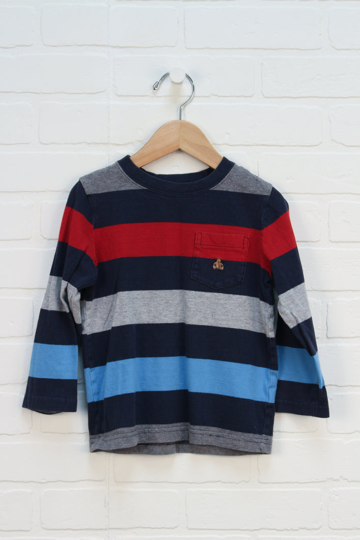 Navy + Heathered Grey Striped Top (Size 4T)