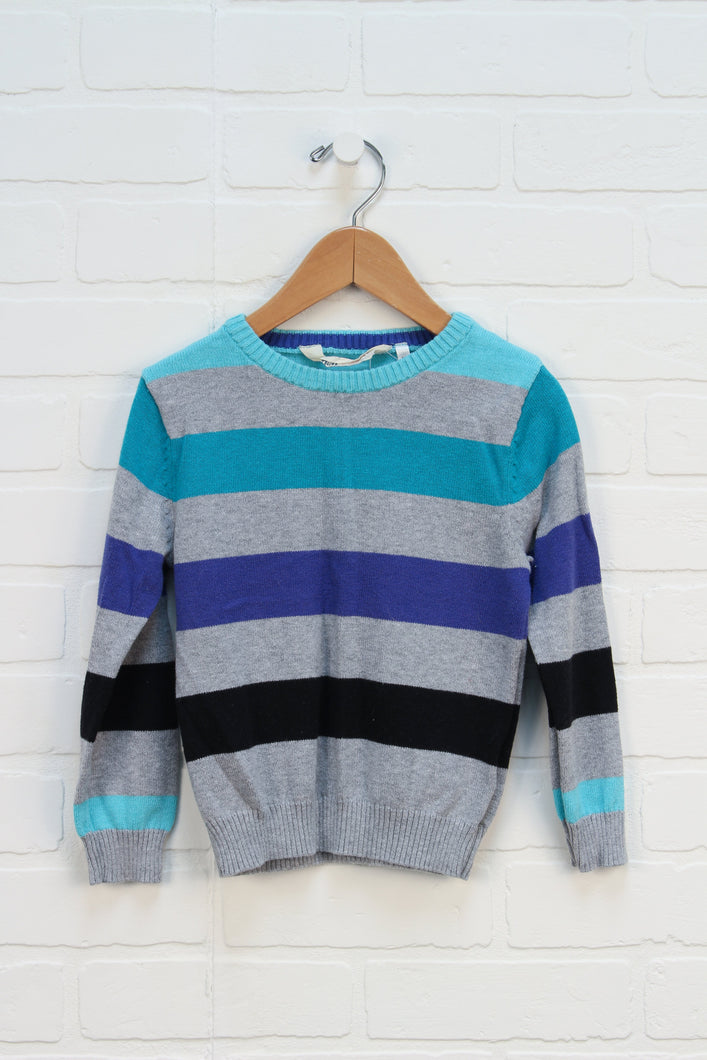 Heathered Grey + Teal Striped Sweater (Size 2-4)