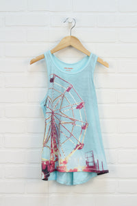 Turquoise Graphic Curved Hem Tank: Ferris Wheel (Size L/10-12)