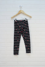 Black + Silver Striped Leggings (Size 6/6X)