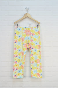Yellow + Peach Floral Cropped Leggings (Size XL/14-16)