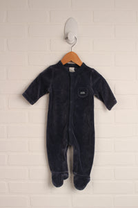 Slate Velour Sleeper (Size 3-6M)
