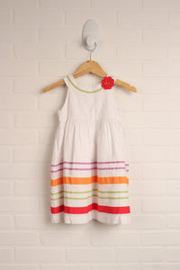 White + Multi Party Dress (Size 2T)