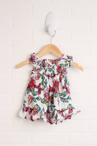 White + Multi Floral Dress + Bloomers (Size 3-6M)