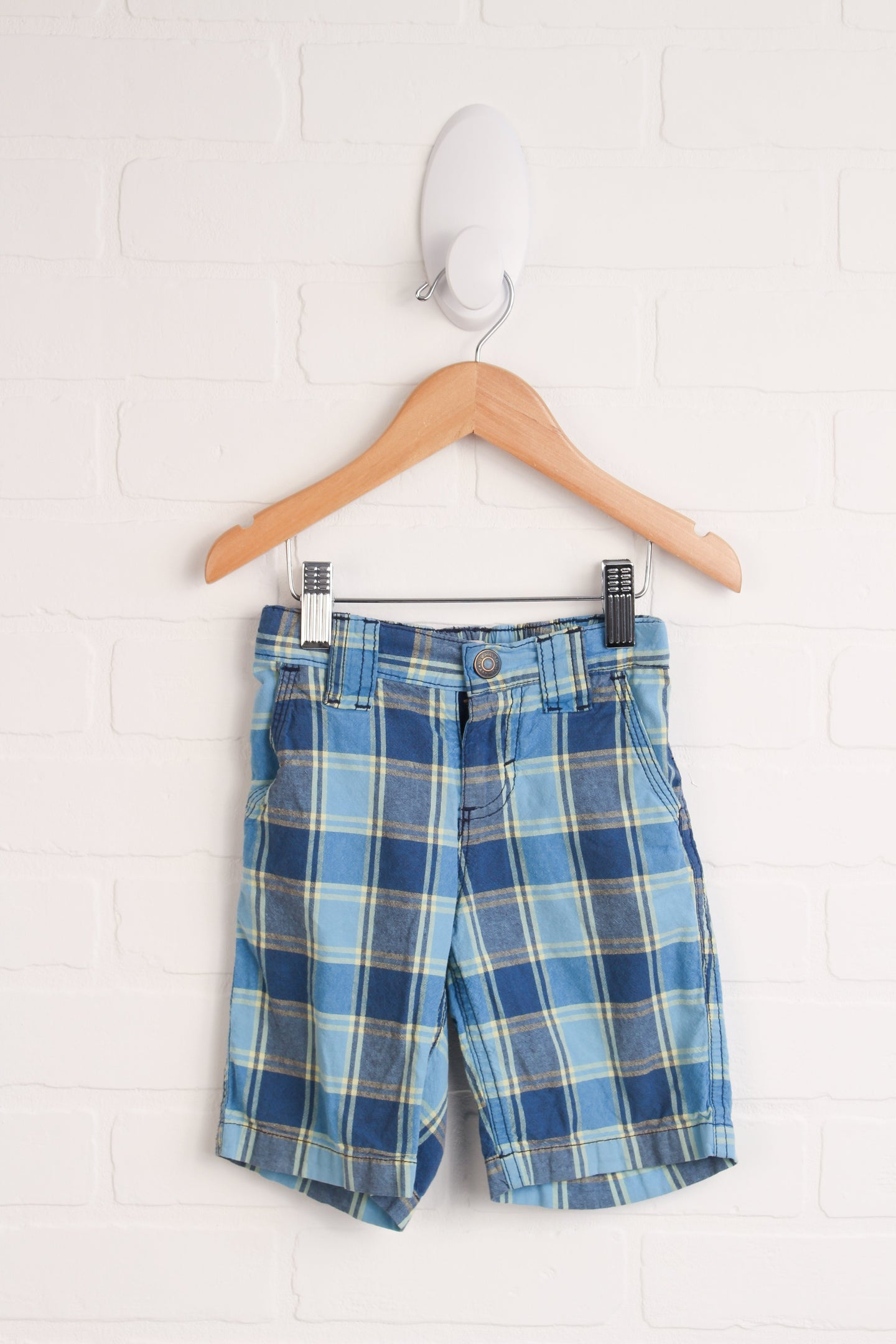 Blue + Yellow Plaid Shorts (Size 2T)