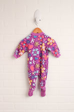 Purple Fleece Sleeper: Flowers (Size 3-6M)