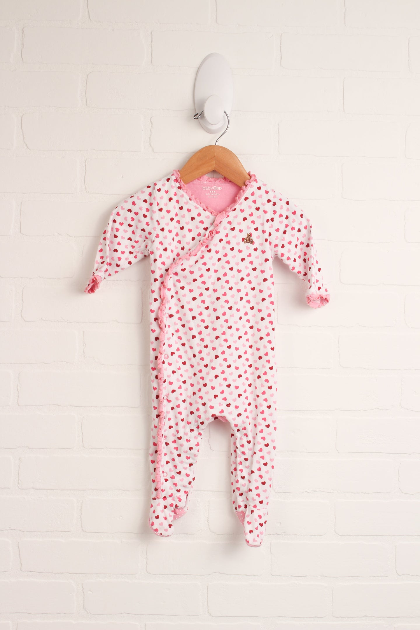 White + Pink Sleeper (Size 3-6M)