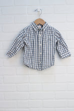 White + Blue Button-Down (Size 12-18M)