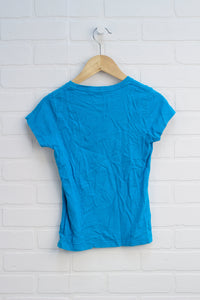 Turquoise Cap Sleeve Graphic T-Shirt (Size 6X)