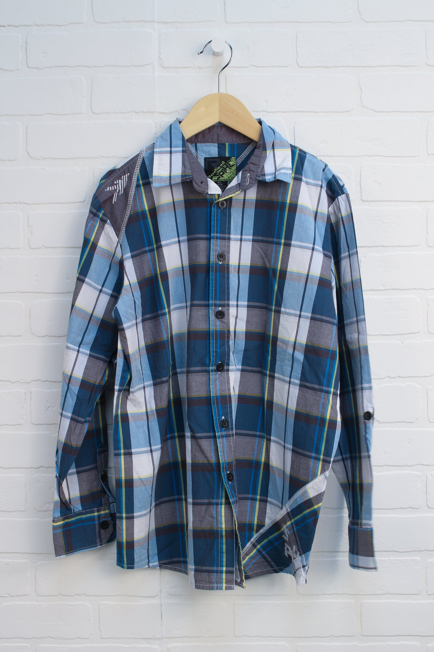Blue + Grey Plaid Button Up (Size L/12-14)