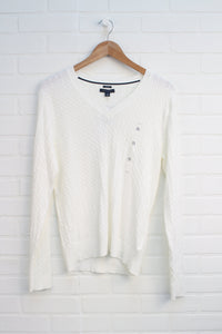 NWT White Cable Knit Sweater (Women's Size XL)