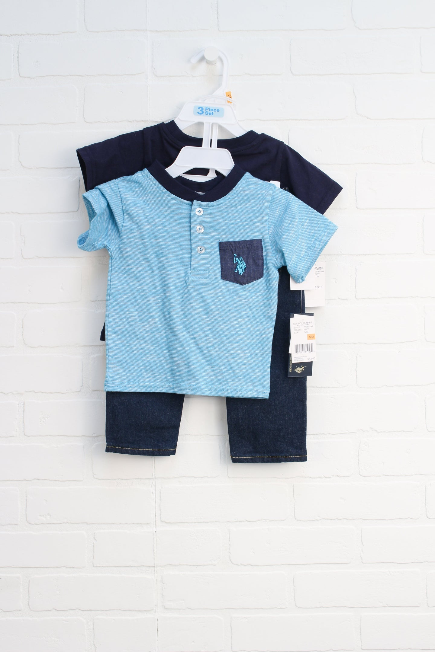 NWT OUTFIT: Light Blue + Navy Set (Size 12M) 3 Pieces