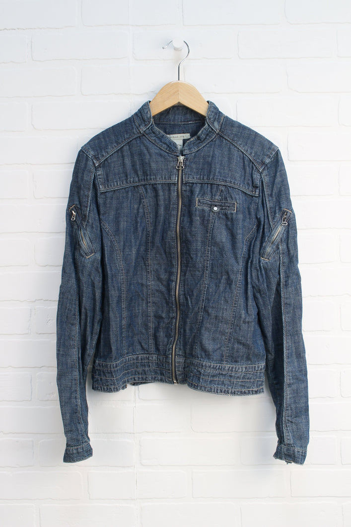 Vintage Wash Denim Moto Jacket (Women's Size M)