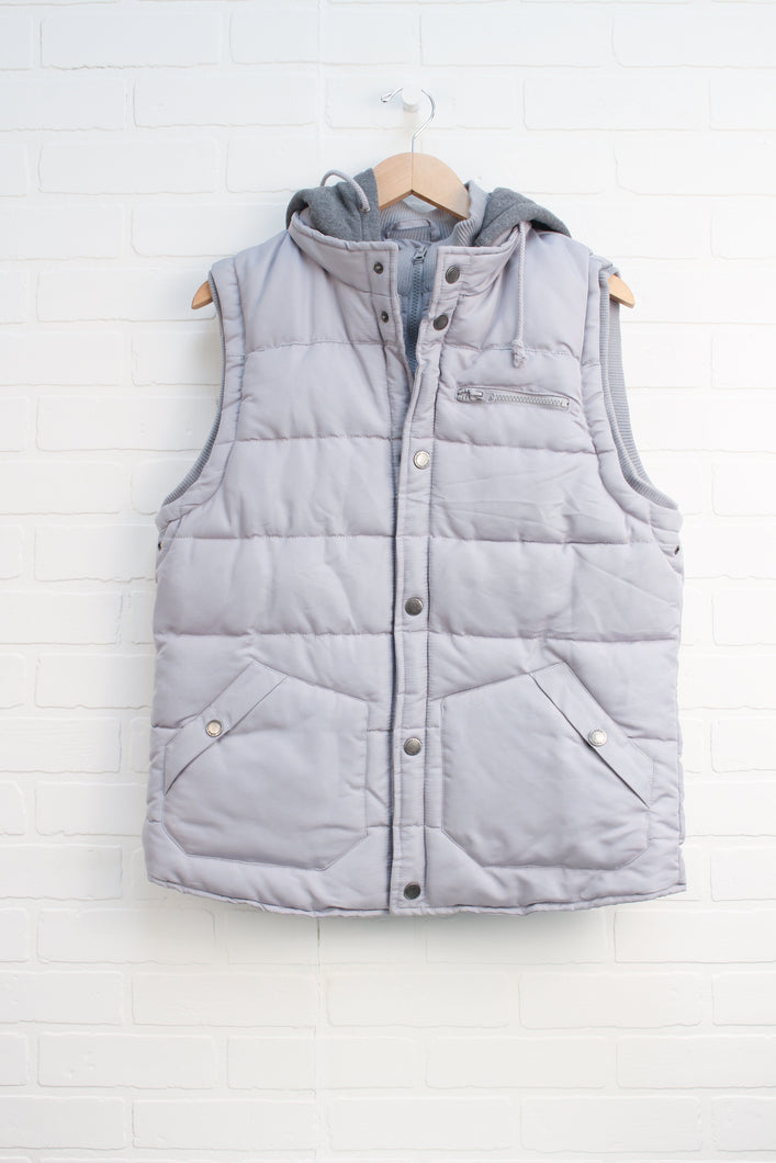 Grey Hooded Puffer Vest (Men's Size L)