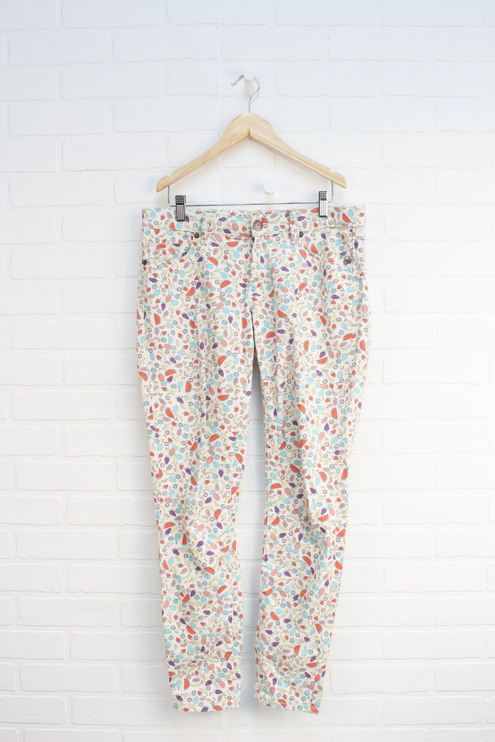 Cream + Multi Graphic Jeans: Fruit (Women's Size 27)