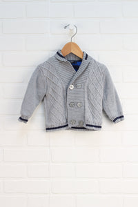 Grey + Navy Double Breasted Cardigan (Size 12M)
