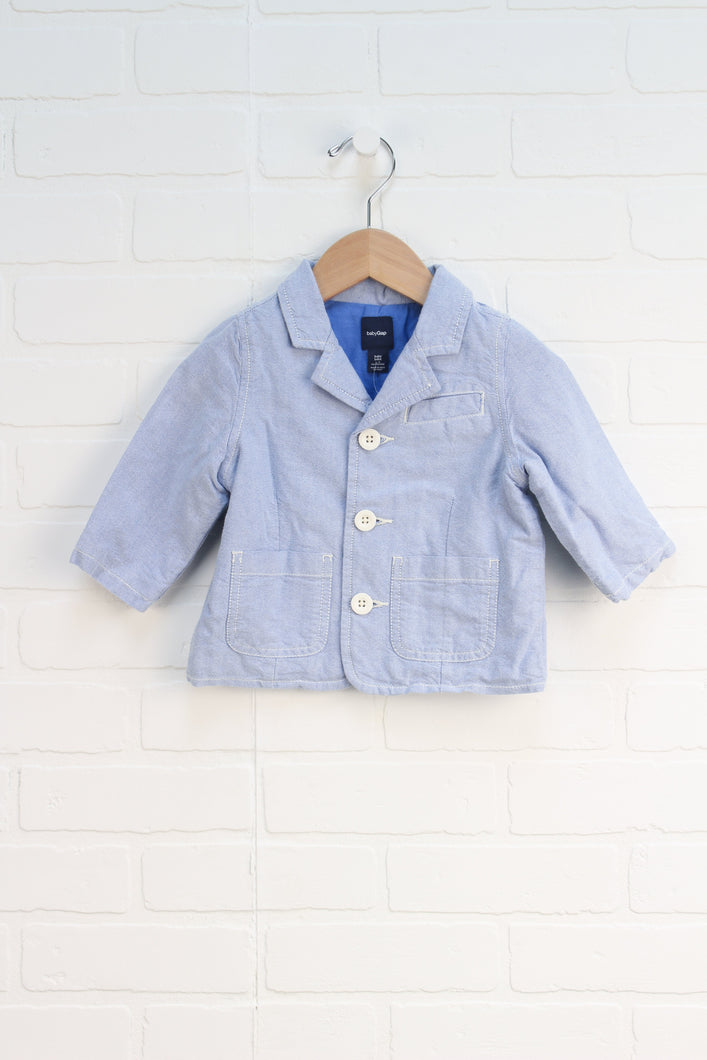 Light Blue Chambray Blazer (Size 6-12M)