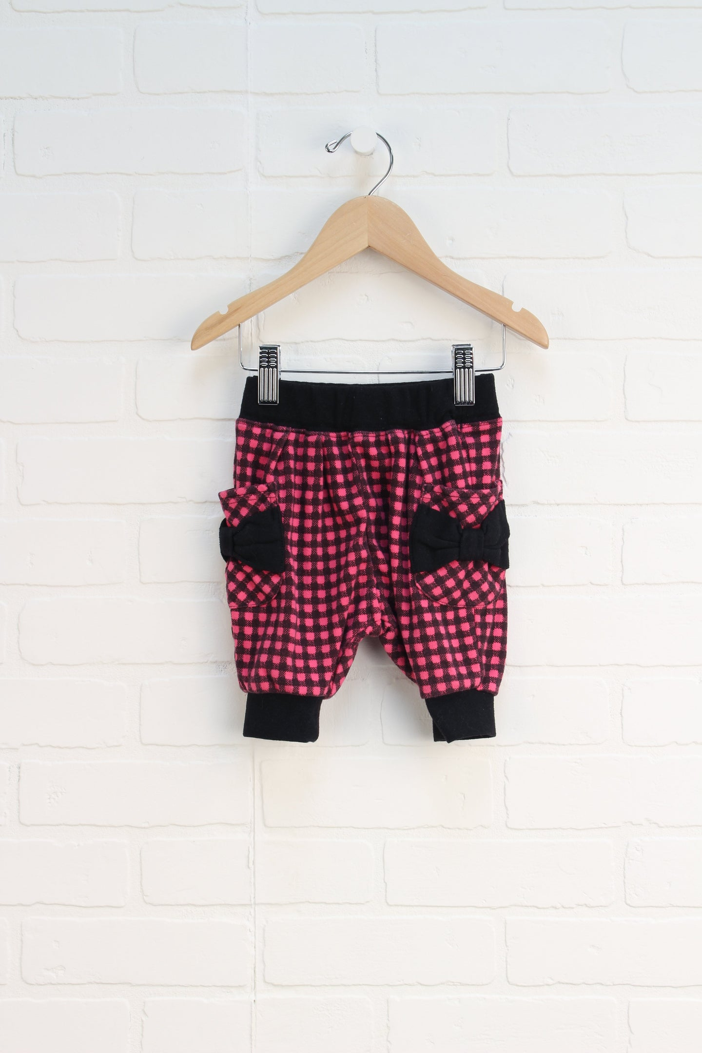 Black + Hot Pink Harem Shorts (Size 80/12-18M)