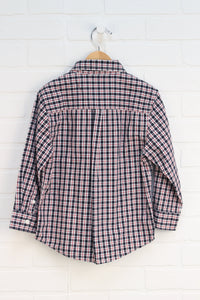 Navy + Red Plaid Button-Up (Size XS/3-4)
