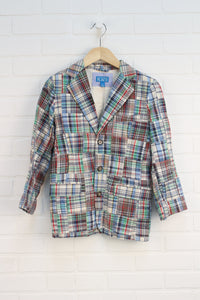 Multi Plaid Patchwork Blazer (Size 6)