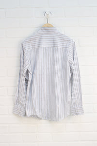 White + Blue Striped Button-Up (Size 10)