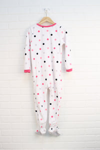 White Fleece Sleeper: Bow (Size 5)