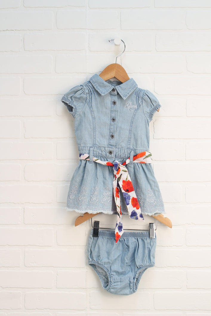 NWOT Light Wash Denim Dress + Bloomers (Size 12M)