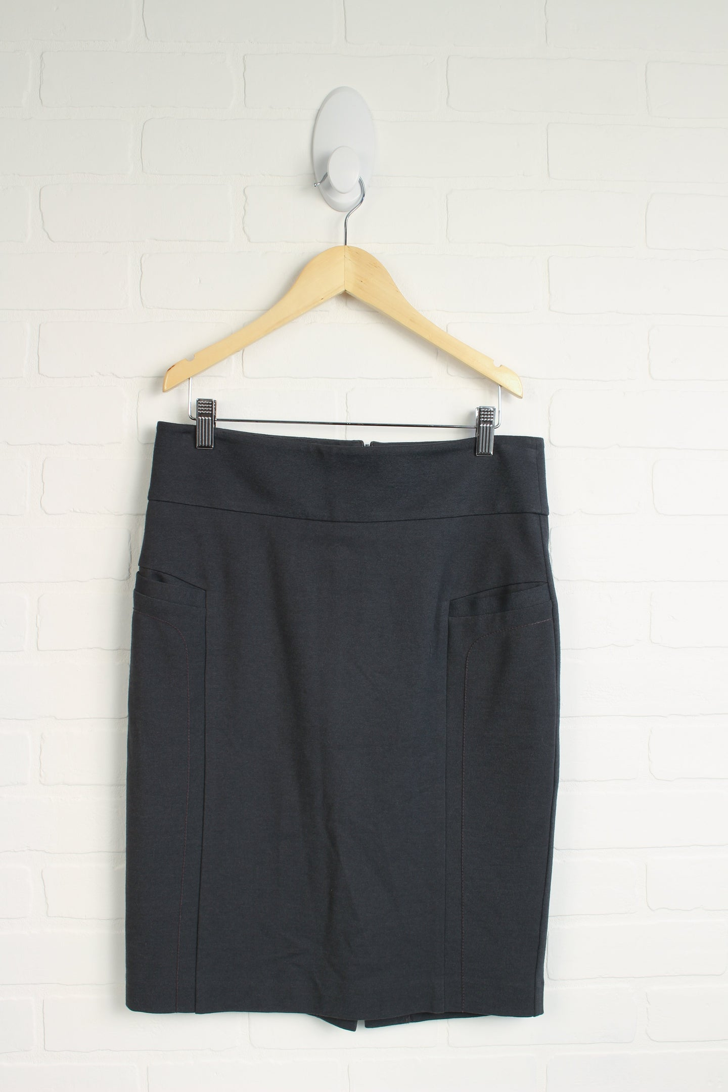 Grey Pencil Skirt with Pockets (Women's Size 38/8)