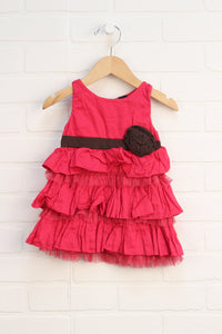 Hot Pink + Brown Party Dress (Size 12-18M)