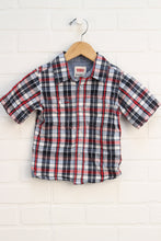 Black + Red Plaid Button-Up (Size 24M)