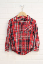 Red + Navy Plaid Button-Up (Size 6)
