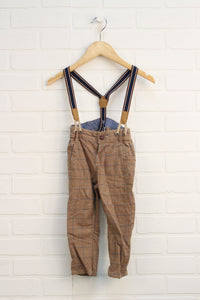 Tan Houndstooth Pants with Suspenders (Size 12-18M)
