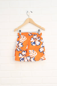 Orange Floral Swim Trunks (Size 9-12M)
