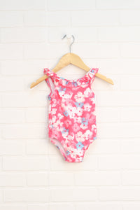 Pink Floral Swimsuit (Size 3-6M)