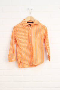Tangerine + White Striped Button-Up (Size 6)