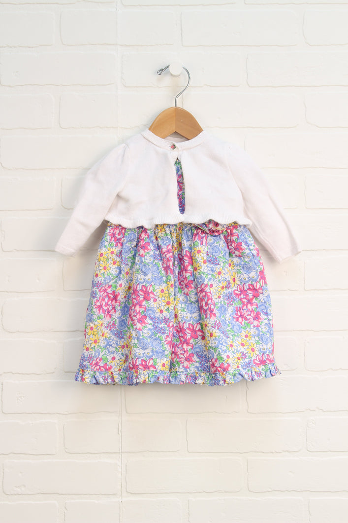 Multi Floral Dress with Cardigan (Size 6M) 2 Pieces