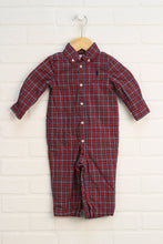 Red + Navy Button Down Romper (Size 9M