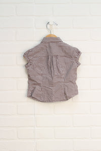 Benetton Brown + White Gingham Blouse (Size 90/24M)