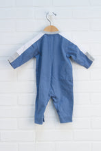French Blue Graphic Romper: Grasshopper (Size 68/4-6M)